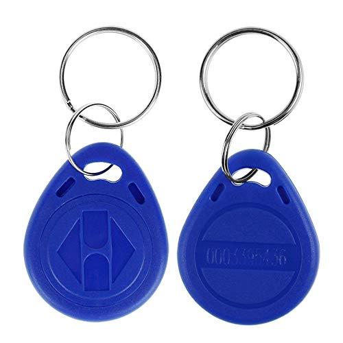 LIBO 125KHz Smart ID Key Tag Card RFID Access Control Key Card Proximity EM4100 TK4100 Keyfobs Keychains NFC Token Badge Holder (Blue, Pack of 10) ()