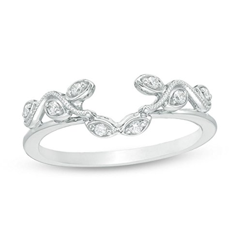 1/10 Cttw Diamond Vine Vintage-Style Solitaire Enhancer Ring Wrap in 10K White Gold (IJ/12)