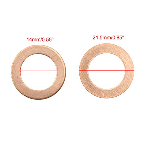X AUTOHAUX 14mm Inner Dia Copper Crush Washers Flat Car Sealing Gaskets Plate Rings 40pcs by X AUTOHAUX (Image #1)