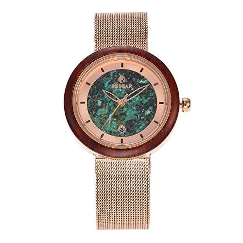 KYBH * Armbandsur träklocka – gjord av dyrt sandelträ och turkos, kvartsföretags-sportklocka, hälsosam, ger tur, romantik, den bästa gåvan för en partndekoration