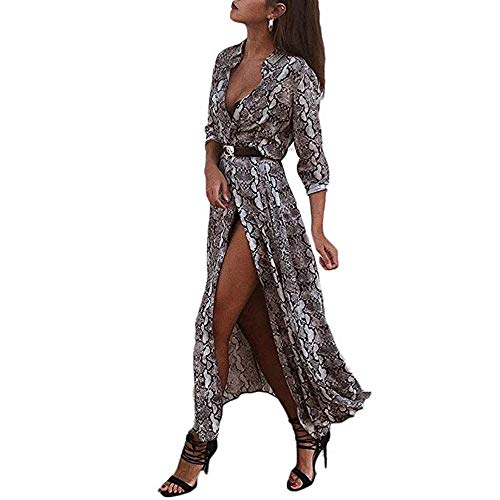 Women's Sexy Snake Skin Print Maxi Dress,Long Sleeve Lapel Neck Split Button Down Beach Party Flowy Dresses Gray