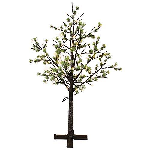 Puleo International 6.5-Foot Pre-Lit Green Needle Christmas Tree, - Christmas Needles Tree
