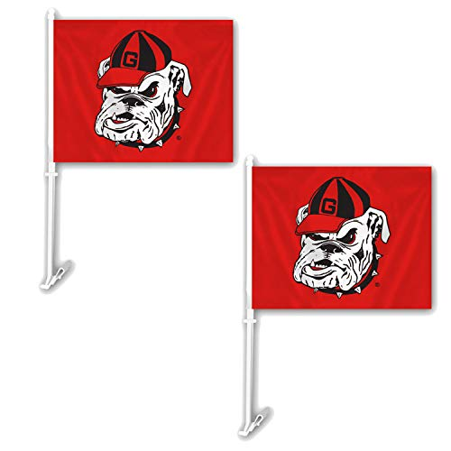 Football Car Flag - NCAA Official National Collegiate Athletic Association Fan Shop Authentic 2-Pack Car Flag. Show School Pride While Driving (Georgia Bulldogs)