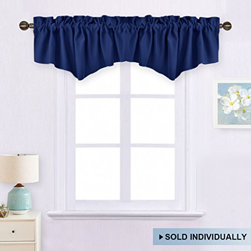 Navy Blue Ascot Window Valance - Blackout 52-inch by 18-inch Ascot Rod Pocket Valance Window Curtain for Kitchen by NICETOWN (1 Piece) (Ideas For Living Room Blue Curtain)