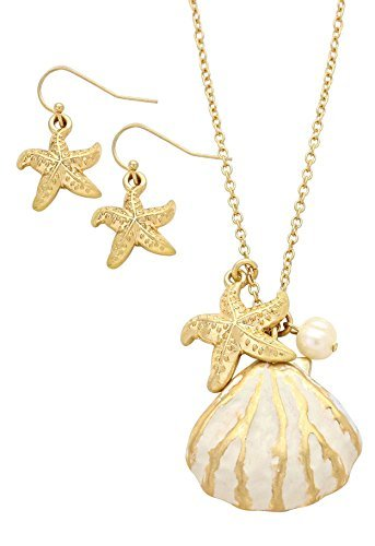 Shell Pendant Necklace Earrings (Rosemarie Collections Women's