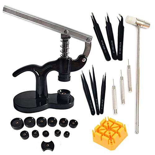 Watch Press Desk Set - Watch Case Closer,Watch Back Repair Kit Tool with 12pcs Fitting Dies and Watch Band Link Pin Tool Set from Tellunow