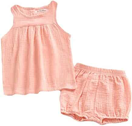 e89d1cb75 LOOLY Baby Outfits Unisex Girls Boys Cotton Linen Blend Tank Tops and  Bloomers
