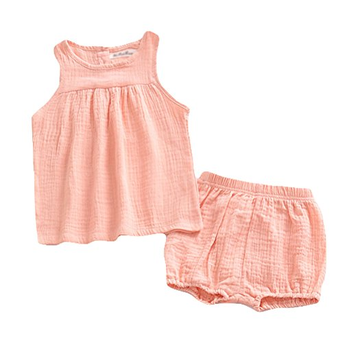LOOLY Baby Outfits Unisex Girls Boys Cotton Lien Blend Tank Tops and Bloomers Pink 90