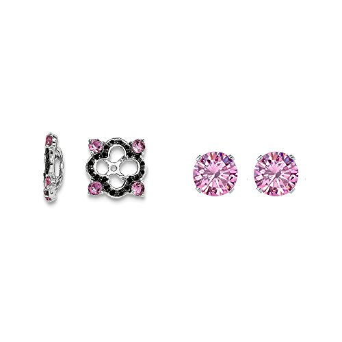 Sterling Silver Pink Simulated Sapphire, Black Simulated Sapphire Earring Jacket + 2mm Pink CZ Studs by Mireval