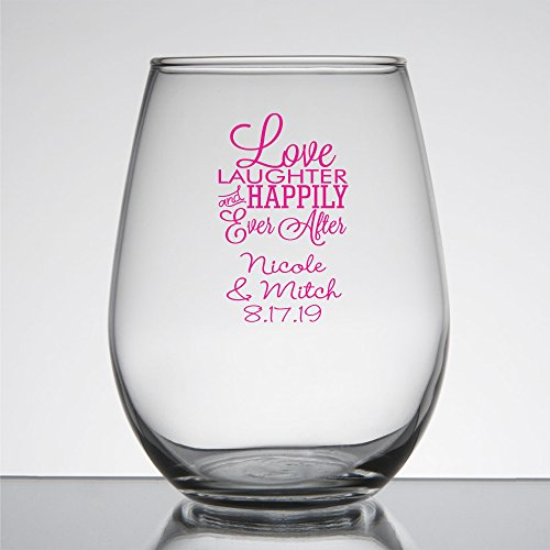 48 Pack Personalized Color Printed 9 Once Stemless Wine Glass - Love Laughter and Happily Ever After - Fuchsia by All Gifts