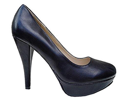 K421 Plateauschuh High Schwarz escarpin fashionfolie Faux Heel 2 Damen Leder P74wRU