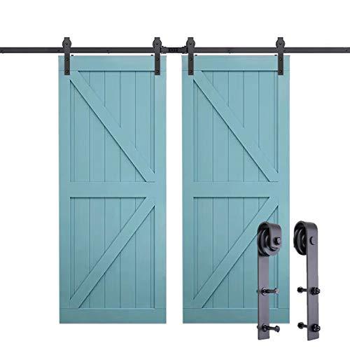 PeggyHD 12FT Heavy Duty Sliding Barn Door Hardware Kit Double Wood Door Track Roller Kit Wall Mounted J Shape Hanger (2 x Door Set)