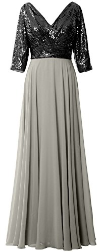 MACloth Women 3/4 Sleeve V Neck Mother Dress Sequin Chiffon Wedding Formal Gown Black-Silver