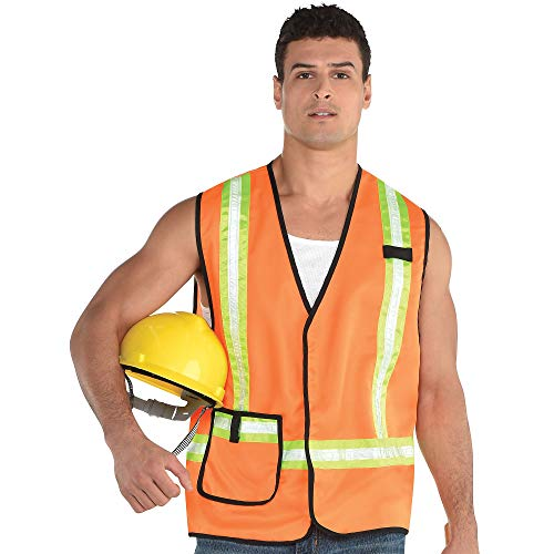 amscan Construction Worker Halloween Vest for Adults, One