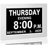 """【Upgraded】 Digital Calendar Alarm Day Clock - with 8"""" Large Screen Display, am pm, 5 Alarm, for Extra Large Impaired Vision P"""