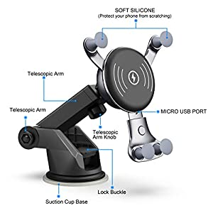 [2019 NEW]7.5W & 10W Wireless Car Charger, Dashboard & Windshield Car Mount, Cell Phone Holder, 10W Compatible for Samsung Galaxy S10/S10+/S10e/S9/S9+/Note9, 7.5W Compatible for iPhone Xs Max/Xs/XR/X