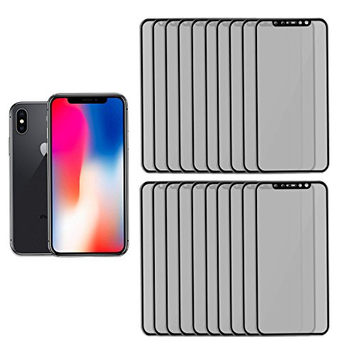 GolemGuard Full Coverage Scratch Resistant Privacy Screen Protector, Extremely Durable Anti Spy 3D Full Cover Tempered Glass Screen Protector for Apple iPhone X, iPhone 10 - 20PK by GolemGuard