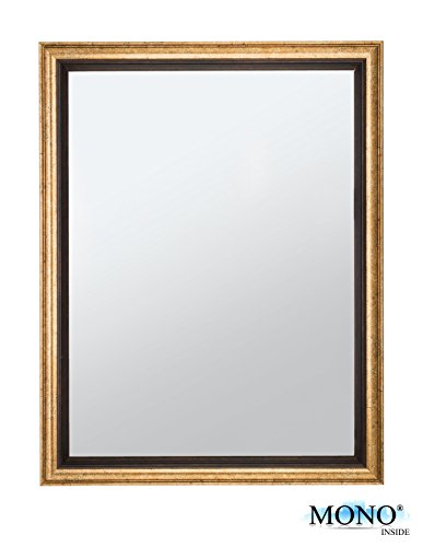 MONOINSIDE Framed Wall Mounted Rectangular Mirror, Antique & Classic Design, Plastic Frame with Vintage Bronze Finish, 17