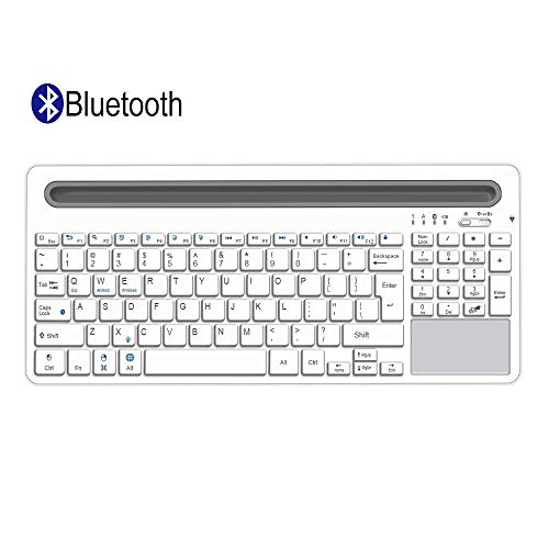 Alitoo Bluetooth Keyboard,Wireless Keyboard with Touchpad and Numeric Keypad,Portable Rechargeable Full Size Keyboard,Compatibile with iPad Mini,Mac,Laptop,Smartphone and Tablets PC Multi-Device ()
