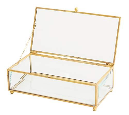 (Utopz Vintage Gold Glass Keepsake Box Jewelry Holder Desktop Organizer, Decorative Accent, Vanity, Wedding Bridal Party Gift, Beveled Glass Boxes, Golden)