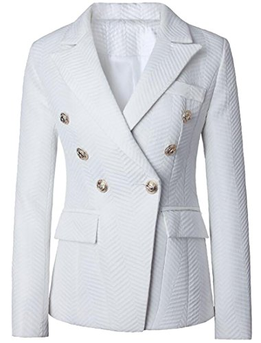 Alion Women's Business Pocket Lapel Long-Sleeved Double-Breasted Suit Blazers White XS by Alion