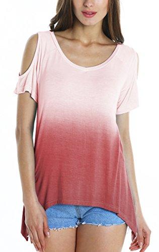 GoCo Colore Loose Rosso Bordeaux Tops Donna Gradient Manica Corta Shirt T Urban Casuale Maglietta d8wOg8qS