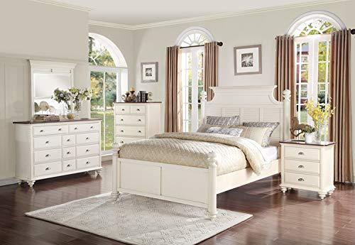 (Cottage Style Antique White with Dark Cherry Top Bedroom Furniture - Floresville (Dresser))