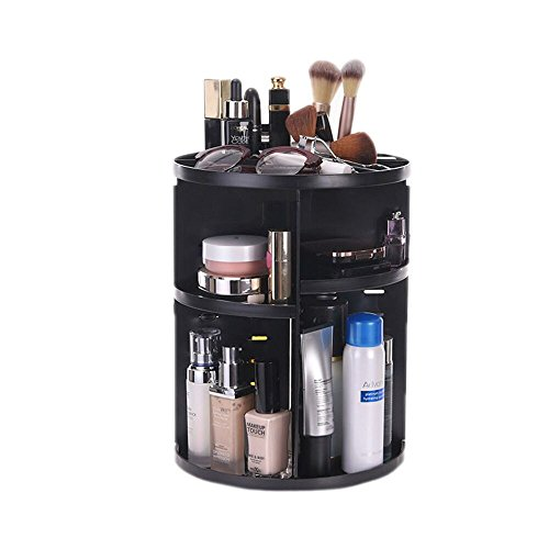 Makeup Organizer, 360-Degree Rotating Chassis Adjustable Multi-Function Cosmetic Storage Box, Large Capacity Fits Different Types of Cosmetics and Brush Tools Easy to Install and Clean, Black (Bl2)