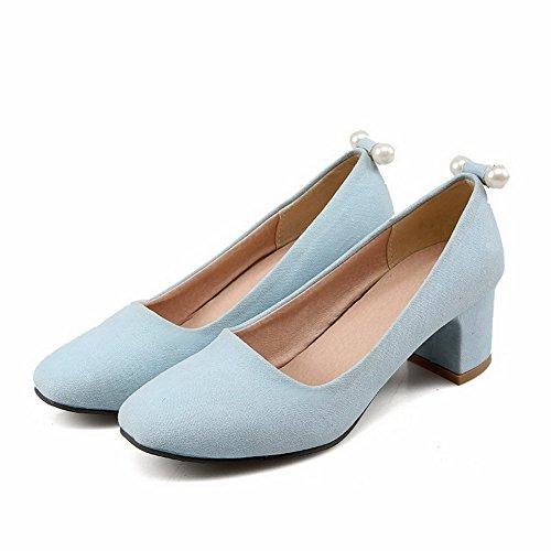 AllhqFashion Damen Ziehen auf Quadratisch Zehe Mittler Absatz Eingelegt Pumps Schuhe Blau