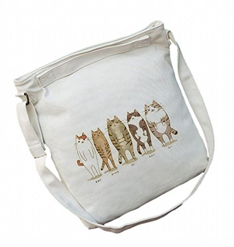 [POJ Harajuku Fashion Style Canvas Shoulder Bag Cat Pattern [ Color White / Grey ] Japan Cosplay] (Korean Culture Costume)