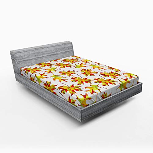 (Lunarable Yellow and Red Fitted Sheet, Abstract Colorful Foliage Pattern Autumn Season Maple and Ash Tree Leafage, Bed Cover with All-Round Elastic Deep Pocket for Comfort, Queen Size,)