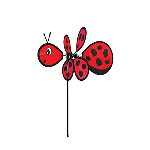 In the Breeze Baby Bug Ladybug Wind Spinner - Silk Screened Details - Fun Spinner for your Flower Pot's, Garden and Yard ()