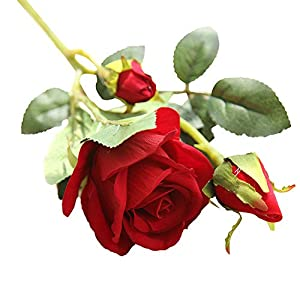 Naiflowers Artificial Flower,1PC Artificial Fake Rose Floral DIY Bridal Bouquets Real Looking Silk Flower with Plastic Stem for Home Wedding Party Decoration (B) 2