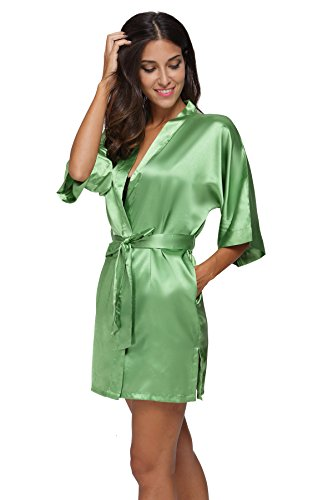 The Bund womens Pure Colour Short Kimono Robes with Oblique V-Neck Green  Medium 48a46da39