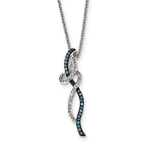 925 Sterling Silver (0.335cttw) Fancy Swirl Design White and Blue Diamond Pendant (36mm x 9mm) (Mia Swirl White)