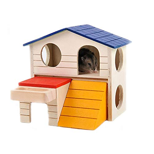 kathson Pet Small Animal Kingdom Hideout Hamster House Deluxe Two Layers Wooden Hut Chews Play -