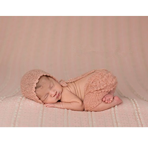 Fashion Cute Newborn Boy Girl Baby Costume Outfits Photography Props Hat Pant (Light Pink)