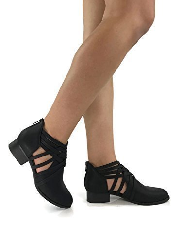 Women's Ankle Bootie Woven Strappy Weeve Criss Cross Low Chunky Heel, Black, 9