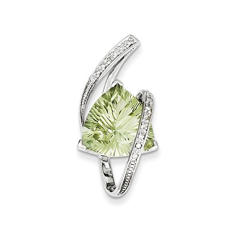Solid 14k White Gold Green Simulated Amethyst & Diamond Pendant Slide (.08 cttw.) (32mm x 15mm)