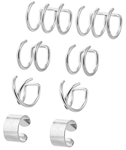 YOVORO 4 Pairs Stainless Steel Ear Cuff for Men Women Cartilage Clip On Earrings Non-Piercing Silver-tone