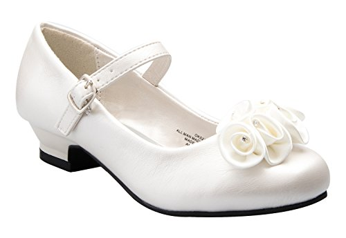 Mary Jane Shoes with Pretty Satin Rolled Rosettes Patent Leather-Ivory-Y3-(LA5216)