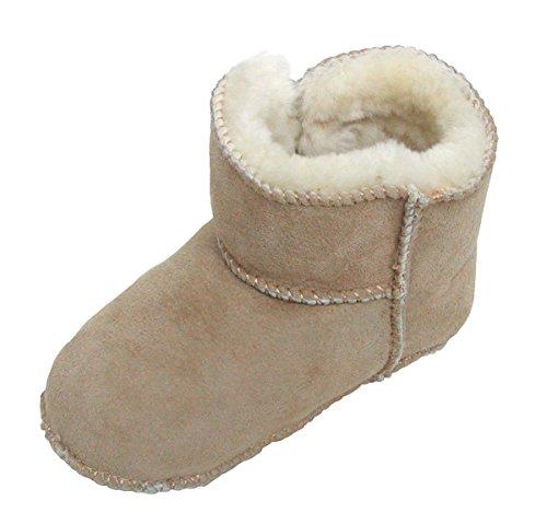 Heitmann Warme Baby Lammfell Boots mit Klettverschluss Sand, Gerbung Ohne schädliche Stoffe, Gr. 16-17 Beige