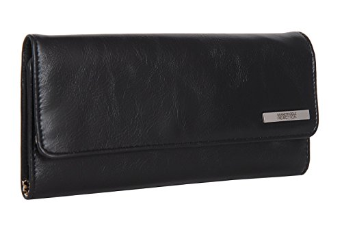 Kenneth Cole Zipper Wallet (Kenneth Cole Reaction Womens Saffiano Clutch Wallet Trifold W Coin Purse (GLAZED BLACK))
