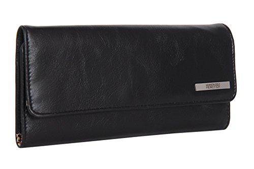 Kenneth Cole Reaction Womens Saffiano Clutch Wallet Trifold W Coin Purse (GLAZED BLACK) Black Tri Fold Handbag
