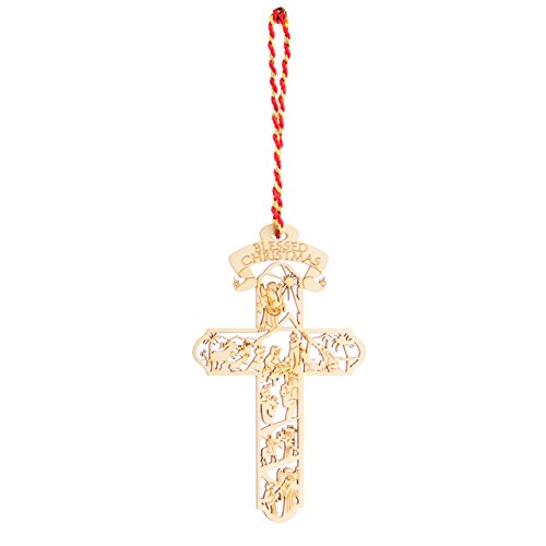 Jolette Designs Nativity Cross Wooden Christmas Ornament : Heirloom Quality Keepsake for Christmas Tree, Home & Car : Precision Laser Cut Red Alder Wood, 4 1/2'' x 2 5/8'', Made in USA by Jolette Designs (Image #6)