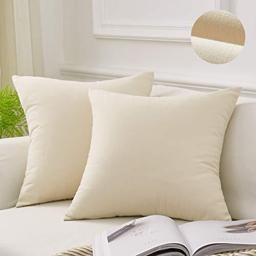 - MoMA Decorative Throw Pillow Covers (Set of 2) - Linen Blend Pillow Cover Sham Cushion Cover - Throw Pillow Cover - Sofa Throw Pillow Cover - Square Decorative Pillowcase - Cream Off White - 18