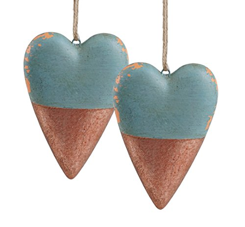 Native American Tree Ornaments (Rustic Style Tribal Clay Heart Hanging Christmas Ornaments - Set of 2)