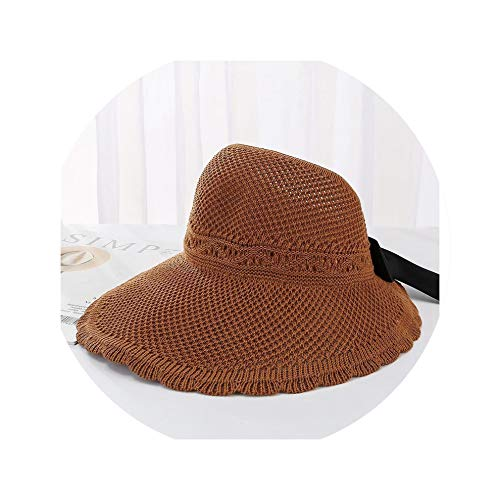 (Womens Hats Summer Knitted Bowknot Sun Hat Foldable Floppy Beach Female Korean Ladies Sunshade Visor Sunhat Brown)