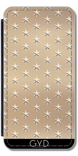 Leder Flip Case Tasche Hülle für Apple Iphone 7 Plus / 8 Plus - Elegante Gold-Sterne-Muster by Andrea Haase