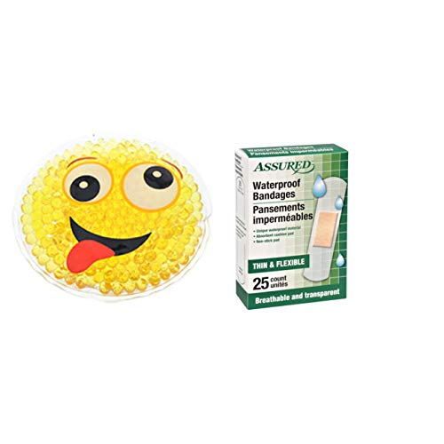 Boo Boo Buddies Animal Shaped Ice Pack Cold Compression for Kids.Take The Ouch Out of Owies and Keep Them Clean and Dry with Bonus 25ct Invisible Waterproof Bandages (Smiley Face) ()